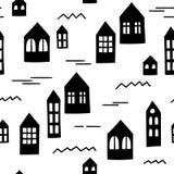 Naadloos patroon met primitieve huizen Vector Malplaatje Royalty-vrije Stock Afbeelding