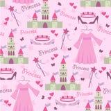 Naadloos patroon met prinsestoebehoren Royalty-vrije Stock Afbeelding