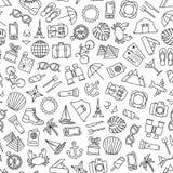 Naadloos patroon met reizende pictogrammen Stock Foto