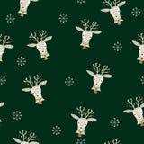 Naadloos patroon met rendier en sneeuwvlokken stock illustratie