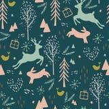 Naadloos Patroon met Rendier, Haar, Vogel en Bomen stock illustratie