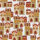 Naadloos patroon met retro huizen. Royalty-vrije Stock Afbeelding