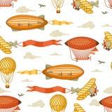 Naadloos patroon met retro luchtvervoer Uitstekend aerostaatluchtschip, blimp en vlakte in bewolkte hemel Royalty-vrije Stock Fotografie