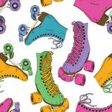 Naadloos patroon met retro rolschaatsen stock illustratie