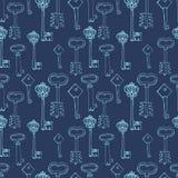 Naadloos patroon met retro sleutels Stock Afbeeldingen