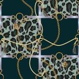 Naadloos patroon met riemen, ketting en vlecht op luipaard backround Vector royalty-vrije illustratie