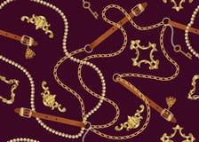 Naadloos patroon met riemen, ketting, vlecht, Gouden Sleutel en parels Barokke druk Achtergrond voor stoffenontwerp royalty-vrije illustratie