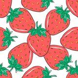 Naadloos patroon met rode aardbeien op witte achtergrond Hand getrokken bessen voor verpakkend document, textiel en ander ontwerp Stock Foto