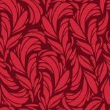 Naadloos patroon met rode en gouden veren Stock Afbeeldingen