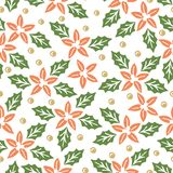 Naadloos patroon met rode en groene Kerstmisinstallaties stock illustratie