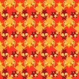 Naadloos patroon met rode en oranje sterren Vector Illustratie