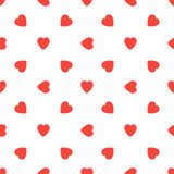 Naadloos patroon met rode harten op witte achtergrond De illustratie van de valentijnskaartendag stock illustratie