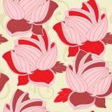 Naadloos patroon met rode lotusbloem Stock Afbeelding