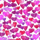 Naadloos patroon met rode, roze en violette waterverfharten Romantisch ontwerp Geïsoleerdj op witte achtergrond Hand royalty-vrije illustratie