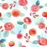 Naadloos patroon met rode rozen en sommige bloemenelementen vector illustratie