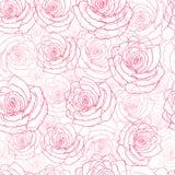 Naadloos patroon met rode rozen op een witte achtergrond vector illustratie