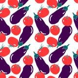 Naadloos patroon met rode tomaat en violette aubergine Eenvoudige moderne vlakke stijl vector illustratie