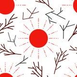 Naadloos Patroon met rode zon en takken royalty-vrije illustratie