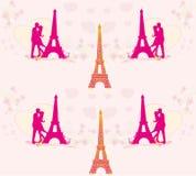 Naadloos patroon met romantisch paar in Parijs Royalty-vrije Stock Foto's