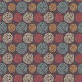 Naadloos patroon met ronde krabbelelementen Stock Foto's
