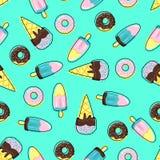 Naadloos patroon met roomijs en donuts - vectorillustratie, eps royalty-vrije illustratie