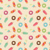 Naadloos patroon met roomijs en kleurrijk smakelijk donuts en roomijs Royalty-vrije Stock Fotografie