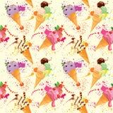 Naadloos patroon met Roomijskegels met glans, Chocolade Stock Afbeelding