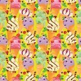 Naadloos patroon met Roomijskegels met glans, Chocolade, streptokok Royalty-vrije Stock Afbeelding