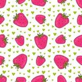 Naadloos patroon met roze aardbeien Vectoraardbeidruk met harten Achtergrond voor textiel en het verpakken ontwerp vector illustratie