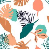 Naadloos patroon met roze en blauwe bladeren Heldere tropische achtergrond stock illustratie