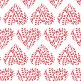 Naadloos patroon met roze harten Takken met bladeren in het hart De dag van de valentijnskaart stock illustratie
