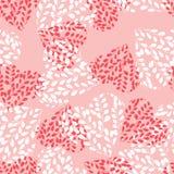 Naadloos patroon met roze harten Takken met bladeren in het hart De dag van de valentijnskaart vector illustratie