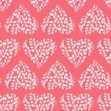 Naadloos patroon met roze harten Takken met bladeren in het hart De dag van de valentijnskaart royalty-vrije illustratie