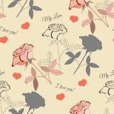 Naadloos patroon met roze rose2-4 Royalty-vrije Stock Fotografie