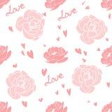 Naadloos patroon met roze rozen. stock illustratie
