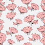 Naadloos patroon met roze rozen op grijs Vector illustratie Stock Afbeeldingen