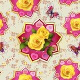 Naadloos patroon met rozen Stock Foto