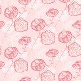 Naadloos patroon met rozen De tekening van het potlood Stock Foto