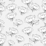 Naadloos patroon met rozen op grijs Vector illustratie Royalty-vrije Stock Foto