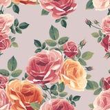 Naadloos patroon met rozen Uitstekende bloemenachtergrond Royalty-vrije Stock Fotografie