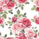 Naadloos patroon met rozen Uitstekende bloemenachtergrond Royalty-vrije Stock Afbeelding