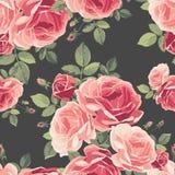 Naadloos patroon met rozen Uitstekende bloemenachtergrond Stock Fotografie