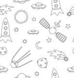 Naadloos patroon met ruimte, raketten, planeten, komeet en sterren royalty-vrije illustratie