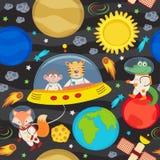 Naadloos patroon met ruimtevaartuig en dieren vector illustratie