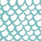 Naadloos patroon met schalen van de kromme de imitatiemeermin, in mariene stijl Stock Fotografie
