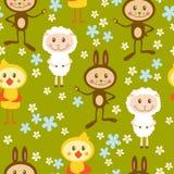 Naadloos patroon met schapen, konijn en kip royalty-vrije illustratie