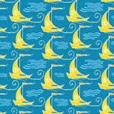 Naadloos patroon met schepen Stock Afbeeldingen