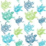 Naadloos patroon met schildpadden Het naadloze patroon kan worden gebruikt voor Stock Fotografie