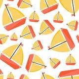Naadloos patroon met schip De stijl van het beeldverhaal royalty-vrije illustratie