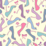 Naadloos patroon met schoenen en bogen Stock Foto's
